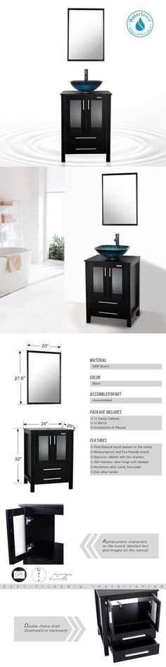 Best Photo Gallery Websites Vanities Bathroom Vanity Cabinet Black Single Mirror Top Vessel Glass Sink W Faucet