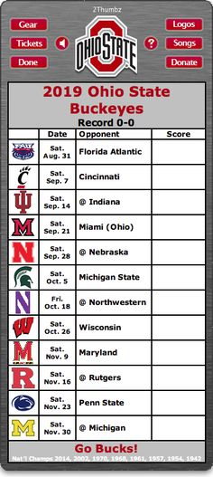 2019 Ohio State Buckeyes Football Schedule Dashboard Widget for Mac OS X - HD Wallpapers Ohio State Football Schedule, Ohio State Gear, Oklahoma Sooners Football, Buckeyes Football, Osu Schedule, College Football, Football Memes, Ohio State Rooms, Sports