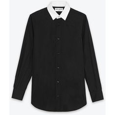Saint Laurent Contrasting Paris Collar Shirt In Black And White Cotton... ($650) ❤ liked on Polyvore
