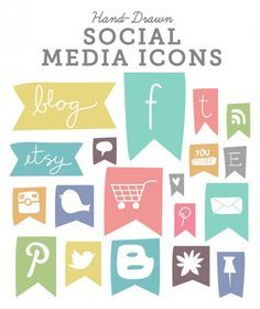 Hand-Drawn Icons for Social media Web Design, Design Blog, Homepage Design, Shop Icon, Icon Set, Theme Template, Flag Icon, Consignment Shops, Social Media Icons