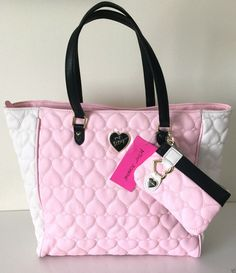 Betsey Johnson Tote Be Mine 2 in 1 Bag Wristlet Carry on Set Pink Hearts NWT #BetseyJohnson #TotesShoppers