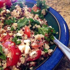 Quinoa Salad - 1/2 c. quinoa - handful of grape tomatoes chopped - 1/2 c. cottage cheese - 1 c. chopped kale - 1 tbs basil, oregano, chives - drizzle olive oil - salt - 1/2 of a lemon (squeezed) Chill.