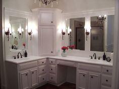 Bathroom Corner Vanity Cabinets For Modern Custom Built Home Master Bathroom  With Custom White Cabinets Corner