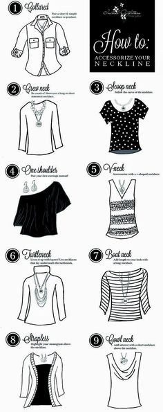 DIY Accessorizing the right style of jewelry with your necklines. So  helpful! Divattrendek fd48449b03