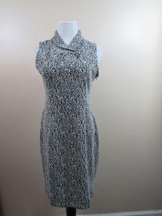Calvin Klein Ivory Black Ponte Knit ZigZag Dress Size 10 Career Excellent #CalvinKlein #WeartoWork
