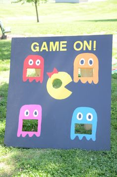 Ms. Pacman bean bag toss