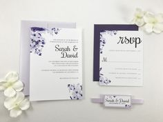 Romantic Purple Floral Wedding Invitations, Eggplant Purple and Lavender Classic Elegant Invites, Belly Band Modern Script traditional font by KimKimDesigns on Etsy https://www.etsy.com/listing/505992202/romantic-purple-floral-wedding