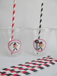 Jake and the Neverland Pirates Party Cups Lids & by 3SweetMemories, $16.00