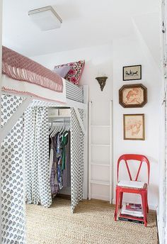 Have a tiny loft bedroom? Keep it white and airy but mix in playful prints in pretty hues to infuse a spirited mood.