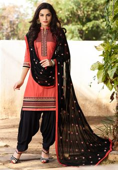 Buy Embroidered Cotton Punjabi Suit in Orange online,Item code: KQY337, Occasion: Casual, Festival, Work: Resham, Traditional, Fabric: Poly Cotton, Gender: Women