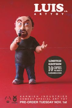 Designer Toys based on pop culture. Creating designer toys, mixing today's tech like digital sculpting and printing to create limited editions art toys. Stand Comedy, Louis Ck, Comedy Specials, Digital Sculpting, Small Studio, Wooden Case, Designer Toys, Zbrush, Pop Culture