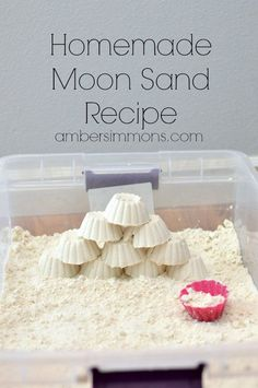 Homemade Moon Sand Recipe Amber Simmons DIY moon sand at home with just two ingredients. Sensory Bins, Sensory Activities, Summer Activities, Preschool Activities, Family Activities, Indoor Activities, Kid Activites, Multi Sensory, Space Activities