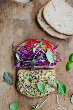 A healthful, summery sandwich made with a white bean 'tuna' that is remarkably close in flavor to the real thing. Whole Food Recipes, Vegan Recipes, Vegan Food, Cooking Recipes, Pickled Red Cabbage, Beach Snacks, Recipe Center, Peach Juice, Onion Relish