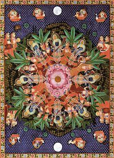 Lord Krishna rasa dance -- Chandvo Raas - Shrinathji's pichhavais paint on cotton cloth Modern, coll. J. Parihar asianart.com