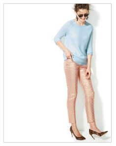 Light blue pants with pink top and leopard ballet slippers