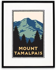 Poster/Print - Schwab Mt Tamalpais    The Parks Conservancy celebrates the beloved Mount Tamalpais with this handsome graphic available in an outstanding silk-screened edition on premium stark white paper or as an intimate matted print.The poster is available framed in classic black wood. Artist, Michael Schwab.