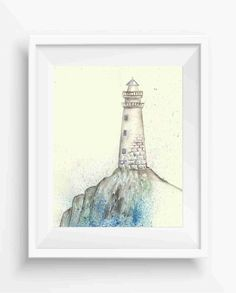 lighthouse on the shore,Watercolor lighthouse on the shore,digital prints,instant download,beach home decor,Beach Wall Art,Ocean Wall Art,