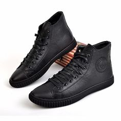 Black Leather Lace Up Winter Punk Rock Military High Top Shoes Men SKU-1280067