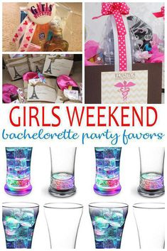 Bachelorette Party Favors! Best Girls Weekend Bachelorette Party Favors! Send your guests home with gifts they will love! From alcohol, hangover kits, survival kits, DIY, goodie bags and tons more ideas. Amazing ideas that friends and bride tribes will want from a themed Girls Weekend Bachelorette Party.