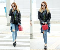 Sandara Park's Layered Airport Fashion