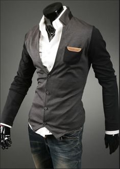 Men's Two Tone Stand Collar Cardigan