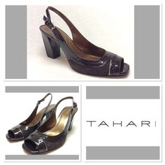 """Tahari  Brown Leather Blaze Heels  7.5M Chocolate brown Tahari BLAZE heels size 7.5M. Features leather upper, manmade balance, peep toe, slingback style and 3.25"""" block heel. Heels have only been tried on. Scratch to footbed happened when I removed the size sticker. Tahari Shoes Heels"""