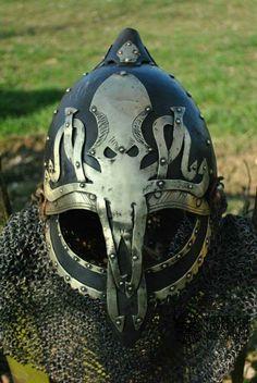 Fuck Yeah LARP, krushak-dagra: Greyjoy commander's helmet by. Larp Armor, Knight Armor, Medieval Armor, Medieval Fantasy, Viking Reenactment, Viking Helmet, Armadura Medieval, Viking Life, Suit Of Armor