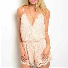 NWOT Urban Outfitters  Romper Lace ✨ Amazing in person ✨ purchased online & ordered wrong size so I HAD to order the right size VERY flattering. NWOT Romper Lace Urban Outfitters. Size Medium. I wear medium but If you have a chest size smaller than a C cup you will probably need to wear a bralett  or something  or not  the top part would be loose  it's gorgeous  like a peach color adorable with brown heels  just saying   Urban Outfitters Other