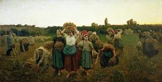 """""""Calling in the Gleaners"""", 1859, by french painter Jules Breton (1827-1906)."""