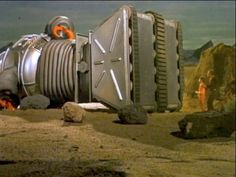 """Scene from the 1960's TV series... LOST IN SPACE episode entitled... """"The Wreck of the Robot""""."""