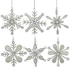 Set of 6 Handmade Snowflake Iron and Glass Pendant Christmas Ornaments ShalinIndia http://www.amazon.com/dp/B00LSNLD0E/ref=cm_sw_r_pi_dp_TCJJvb1KJ7TEW
