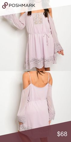 "🆕 new Arrival 🎉Boho off the shoulder dress 🆕Beautiful pale purple off the shoulder dress. Lace accents the bottom, the flare sleeves and the neckline. 100% Rayon. Bust S-18"" M -19"" length S-35"" M- 36"" Dresses"