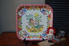 $22.90 ✿ bluefolkhome on etsy ✿ Raggedy Ann Metal Tray Raggedy Ann and Andy Tin Serving Tray Made in England Collectible Midcentury Metal Tray Doll Display I Ship Globally