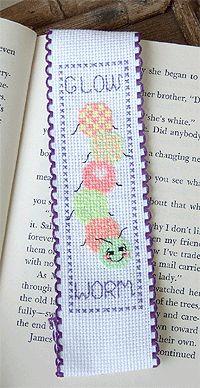 Glowing Worm Bookmark (using glow in the dark fluorescent threads) - free needlework pattern from Kreinik