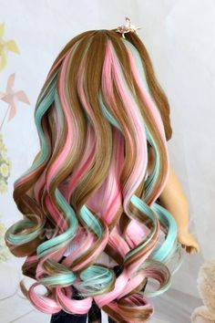 Your place to buy and sell all things handmade American Girl doll wig Bang Pink Pistachio Fits most doll.Gotz, Journey, OG doll, my life, Cute Hair Colors, Pretty Hair Color, Beautiful Hair Color, Hair Dye Colors, Doll Wigs, Doll Hair, Unicorn Hair Color, Og Dolls, Candy Hair