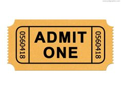 Admission ticket PSD template and web icon. Admit one generic ticket, movie and cinema symbol.