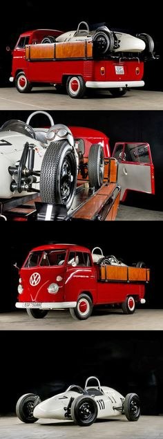 1964 Volkswagen Bulli Transporter with a Porsche Formula V-3 Race Car on the back (VW camper / bus / campervan / van)