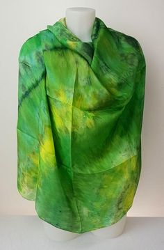 Enchanted Forest - large silk scarf in fresh shades of spring green leaves