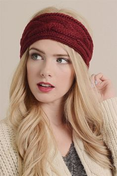 Burgundy Cable Knit Headband