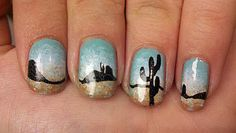 Desert nail art. One day I will be a proficient at nail art. It's gonna happen.