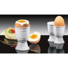 Favorite childhood breakfast (frokost). These are egg cups for your soft boiled eggs.  You tap the top of the egg off and use a special little spoon to scoop the egg out.  A little salt & pepper.  Mmm.