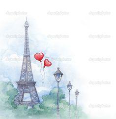 fundo aquarela com ilustração da torre eiffel - Imagem Stock: 22522939
