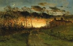 Edward Mitchell Bannister Untitled (sunset with quarter moon and farmhouse) 1883 Smithsonian American Art Museum