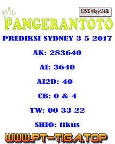 PANGERANTOTO: prediksi pangerantoto togel SYDNEY 3/5/2017