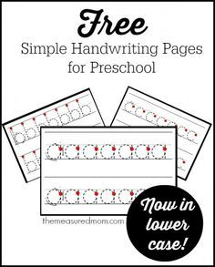 These are great for kids just starting to write on the lines.  A-Z free!  The post links to an uppercase set too.
