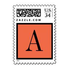 Firecracker Orange Monogram Wedding Stamp