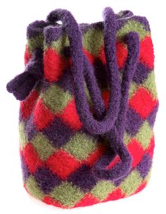 """Capture the distinctive look of entrelac in a beautiful felted handbag. Choose two, three or more colors of 100% wool worsted-weight yarn, crochet with a large hook, then felt using your washing machine.SizeHandbag shown is about 10"""" high, 7"""" wide and 4"""" deep at base. Formulas and instructions are given for making any size bag."""