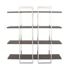Decmode Contemporary Metallic Silver & Brown Bookshelf w/ Grid Silhouette, Size: 63 inchW x 14 inchD inchH, Black Stainless Steel Shelving, Steel Shelving Unit, Black Stainless Steel, Shelving Units, Wood Shelves, Modern Bookshelf, Modern Shelving, Contemporary Shelving, Cabinets
