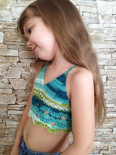 Items similar to Crochet toddler top Boho crop top Colorful outfit Beach clothing kids Halter festival cover up top Crocheted bikini Children's Open back top on Etsy Crochet Toddler, Crochet Baby Clothes, Cute Crochet, Crochet For Kids, Crochet Baby Bikini, Crochet Halter Tops, Cute Young Girl, Cute Little Girls, Swimming Outfit