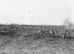 Battle of Loos, 25th September 1915. British dead near the barbed wire defences outside a captured German machine gun emplacement, near Loos, 28th September, 1915. Photo and text: IWM Q28975